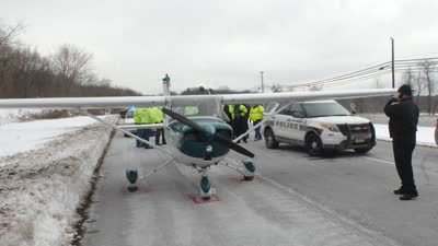 美国小型飞机成功迫降高速公路引围观