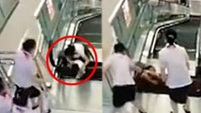 监拍女子被商场电梯卷入身亡