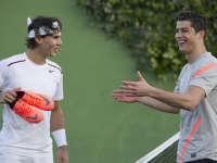 C罗的脚法只能踢足球?原来网球也可以!