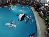 EDGE碗池滑板无差别竞技 五旬佝偻老人超炫技巧获赞