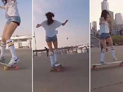 风一样的女子!韩国女神滑板上起舞宛如天仙