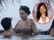 蕾哈娜恋爱了!与猛男泳池嬉戏不停热吻