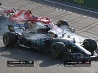 F1阿塞拜疆站二练 莱科宁汉密尔顿1号弯险些碰撞