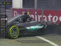 F1新加坡站FP1:罗斯伯格前轮锁死戳上护墙