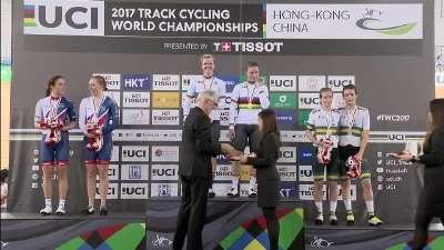 比利时选手荣登领奖台 获得首个女子麦迪逊赛彩虹衫