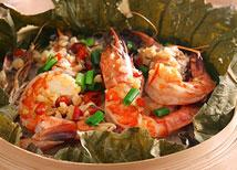 海虾荷叶蒸糯米饭