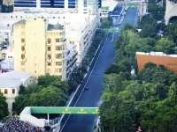 F1欧洲站再次登陆阿塞拜疆 航拍镜头俯瞰巴库街道
