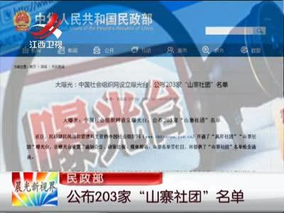 """[视频]民政部:公布203家""""山寨社团""""名单"""