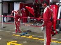 F1奥地利站FP2 法拉利技师吹干停车格