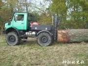 乌尼莫克卡车运输一整根原木,一脚油门下去车头都翘起来了