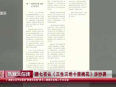 [视频]唐七否认《三生三世十里桃花》涉抄袭