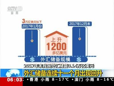 [视频]2017年末我国外汇储备3.14万亿美元 外汇储备连续十一个月出现回升