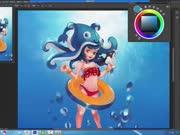 游戏原画快速视频潜海少女