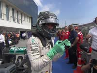 F1匈牙利站排位赛Q3赛后庆祝:罗斯伯格绝杀夺杆位