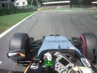 F1比利时站排位赛:佩雷兹过弯锁死拉烟底盘冒星