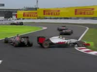 F1日本站正赛:古铁雷兹超车失误赛车打转