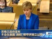 """苏格兰政府宣布不会在英国""""脱欧""""前寻求独立公投"""