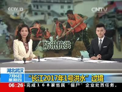 """[视频]湖北武汉:""""长江2017年1号洪水""""过境"""