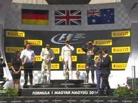 F1匈牙利站颁奖台:汉密尔顿抛奖杯 队友满意第二