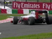 F1日本站FP3:古铁雷兹压草掉头玩倒车