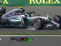 F1比利时站FP1:罗斯伯格锁死轮胎