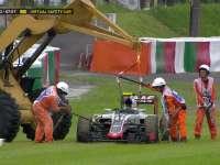 F1日本站FP2:古铁雷兹赛车趴窝吊车出动