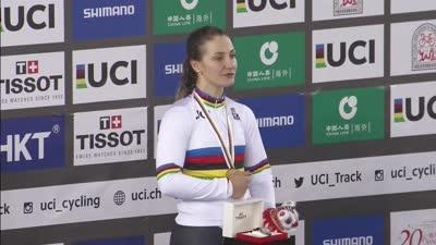 女子争先赛颁奖典礼 德国选手夺金中国香港选手拿到一铜