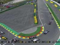 F1比利时站正赛重新起跑:霍肯伯格阿隆索争夺激烈