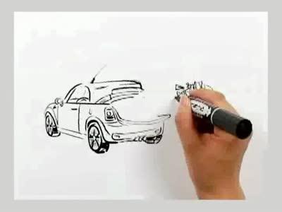 神奇的汽车速写画,超牛!